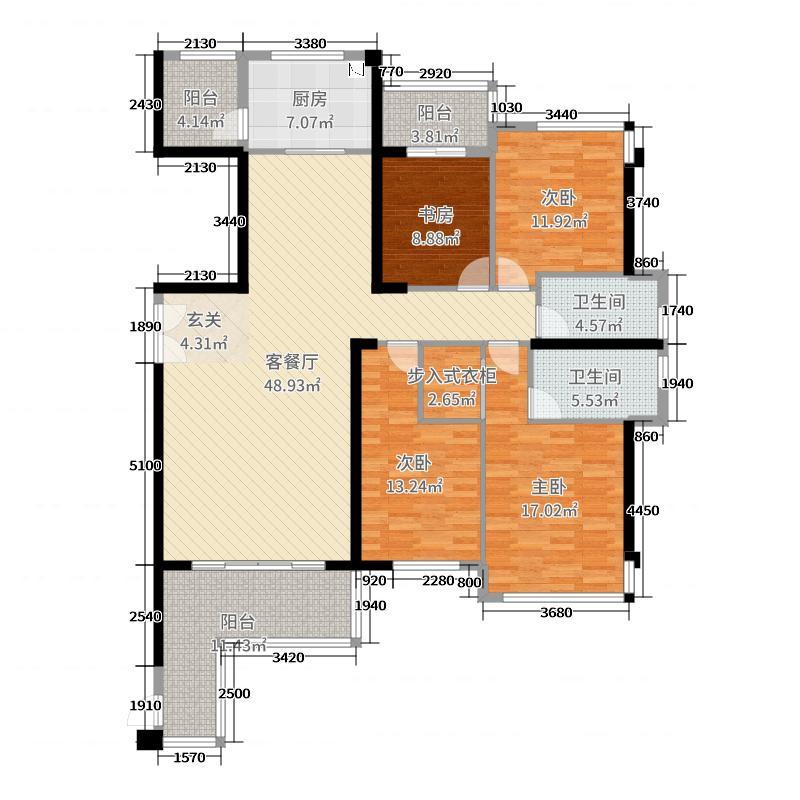 香江铂宫174.00㎡二期7#楼3阳台户型4室4厅2卫1厨