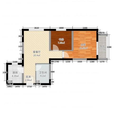 经发新北居2室2厅1卫1厨72.00㎡户型图