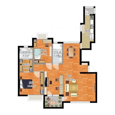 金广东海岸二期2室1厅2卫1厨143.00㎡户型图