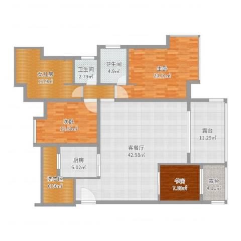 长兴太阳城2期3室2厅2卫1厨167.00㎡户型图