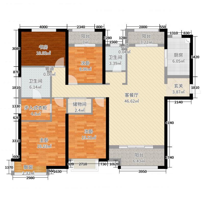 ������������166.84㎡一期C1户型4室4厅2卫1厨