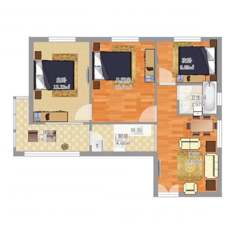 安慧里一区3室1厅1卫1厨76.00㎡户型图