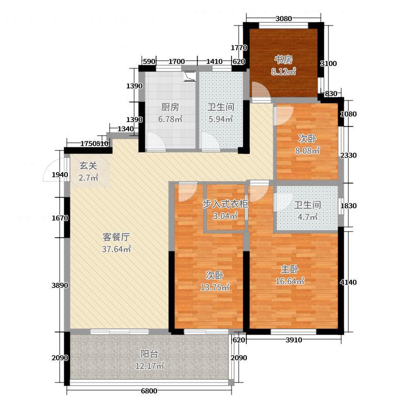 蔚蓝天地146.00㎡21#户型4室4厅2卫1厨