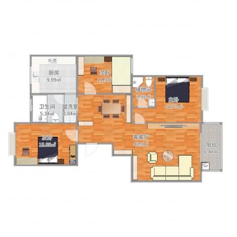 水木华园3室4厅1卫1厨137.00㎡户型图