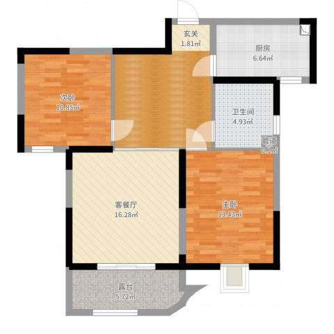 瑞安花园2室2厅1卫1厨90.00㎡户型图