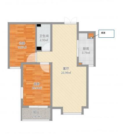 西部枫景傲城2室1厅1卫1厨67.00㎡户型图