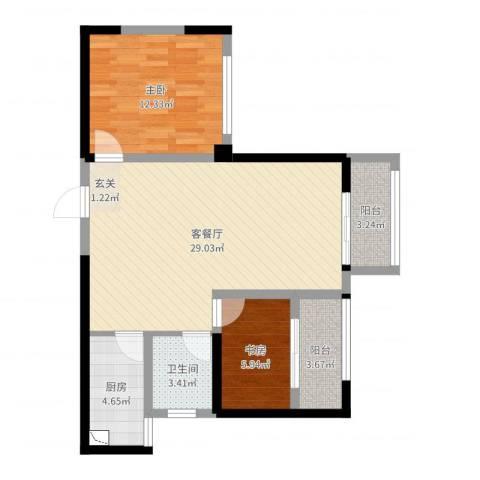 江都新加坡花园2室2厅1卫1厨78.00㎡户型图