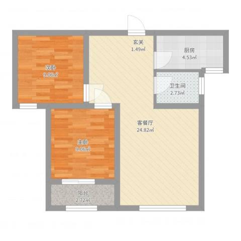 泰安盛世2室2厅1卫1厨66.00㎡户型图