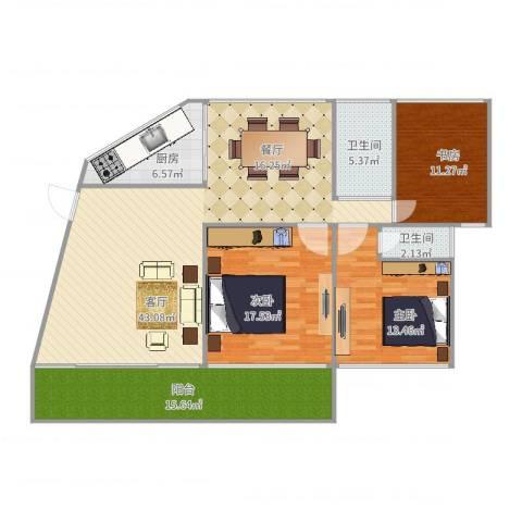 海景城3室1厅2卫1厨144.00㎡户型图
