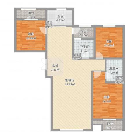 水岸新城3室2厅2卫1厨129.00㎡户型图