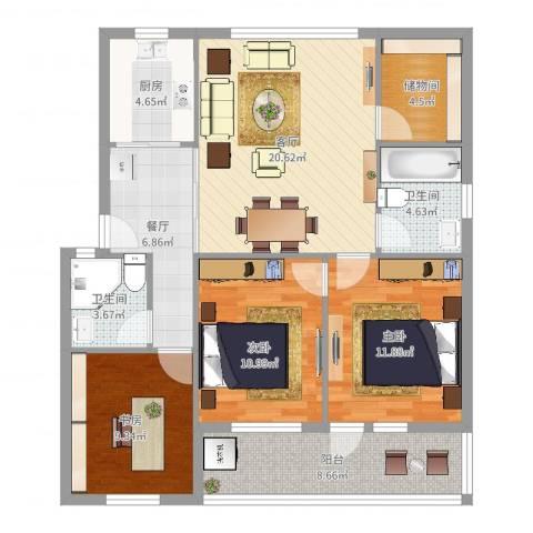 雅渡新村3室2厅2卫1厨107.00㎡户型图
