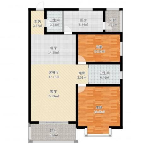 山景明珠花园2室2厅2卫1厨136.00㎡户型图