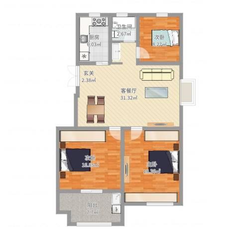 建联学府景园3室2厅1卫1厨114.00㎡户型图