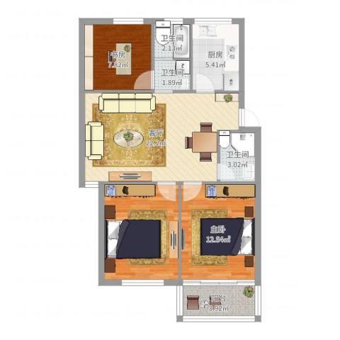 藕池天地小区2室1厅3卫1厨89.00㎡户型图