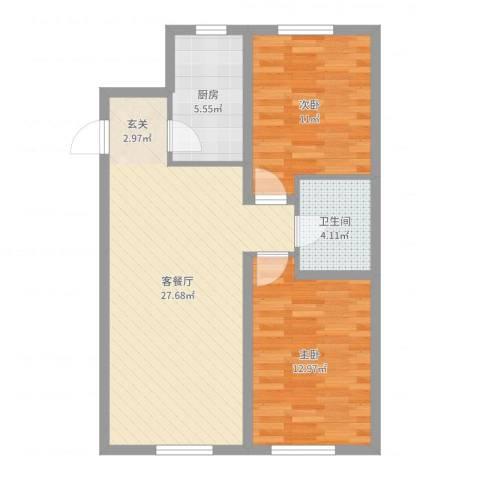 中海复兴九里2室2厅1卫1厨77.00㎡户型图