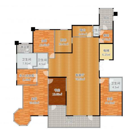半岛公馆5室2厅4卫1厨291.00㎡户型图