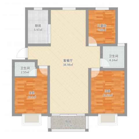 中江国际花苑3室2厅2卫1厨109.00㎡户型图