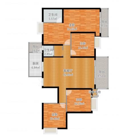 海宇西湖山水4室2厅2卫1厨176.00㎡户型图