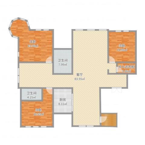 溪岸艺墅3室1厅2卫1厨208.00㎡户型图