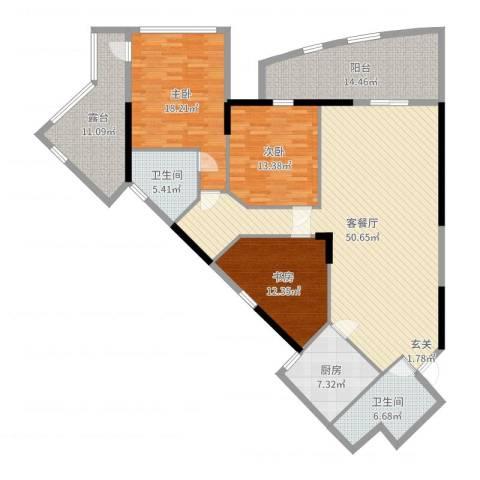 南国丽景3室2厅2卫1厨174.00㎡户型图