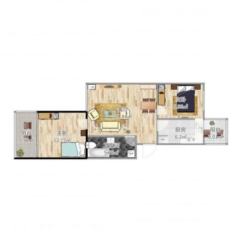 草桥欣园2室1厅1卫1厨80.00㎡户型图