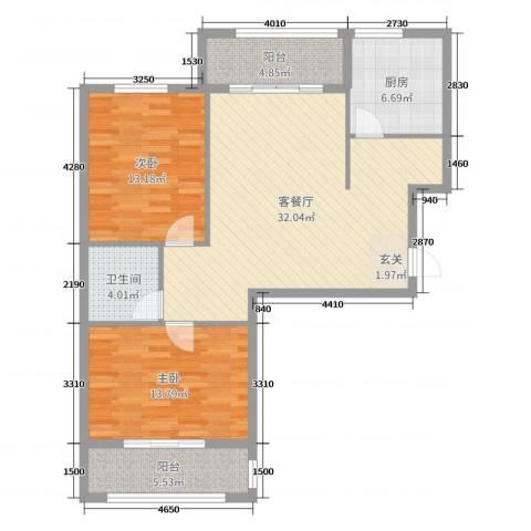 罗马西西里2室2厅1卫1厨100.00㎡户型图