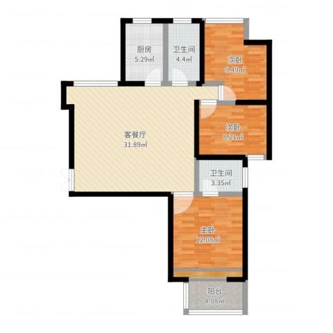 华府御城3室2厅2卫1厨100.00㎡户型图