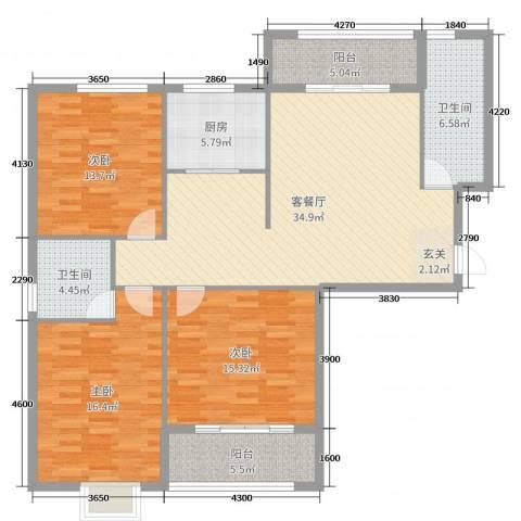 罗马西西里3室2厅2卫1厨135.00㎡户型图
