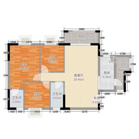 广裕花园二期3室2厅2卫1厨99.00㎡户型图