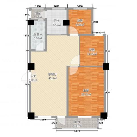 金华尚东国际3室2厅1卫1厨143.00㎡户型图