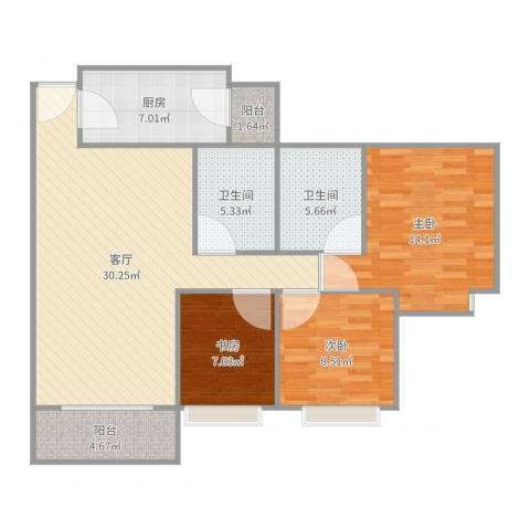雍景豪园3室1厅2卫1厨105.00㎡户型图