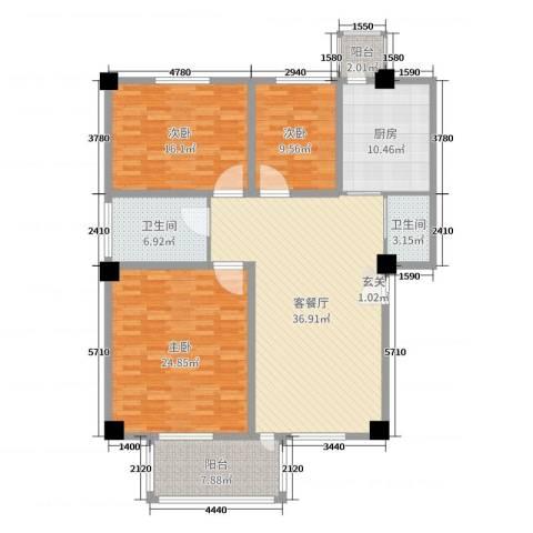 金华尚东国际3室2厅2卫1厨147.00㎡户型图