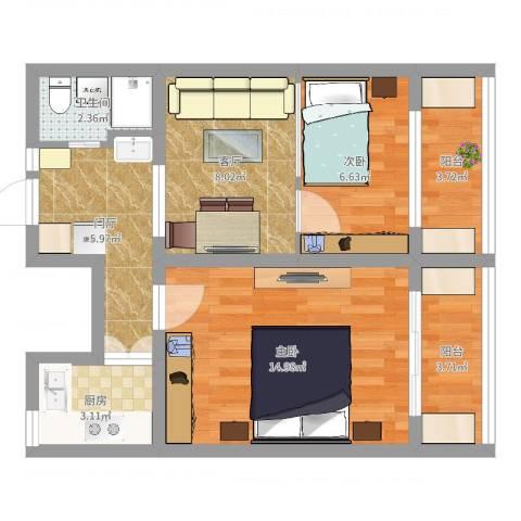殷行一村71号302室2室1厅1卫1厨61.00㎡户型图