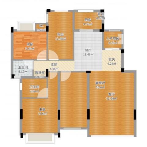 金地三千府2室2厅2卫1厨150.00㎡户型图