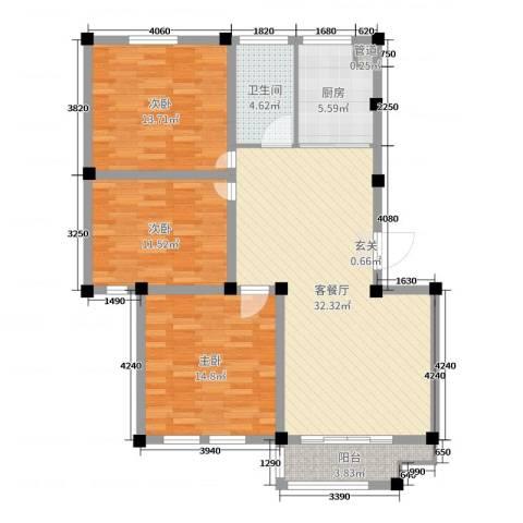 恒通大厦3室2厅1卫1厨108.00㎡户型图