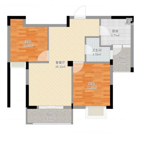 康华・心海湾2室2厅1卫1厨83.00㎡户型图