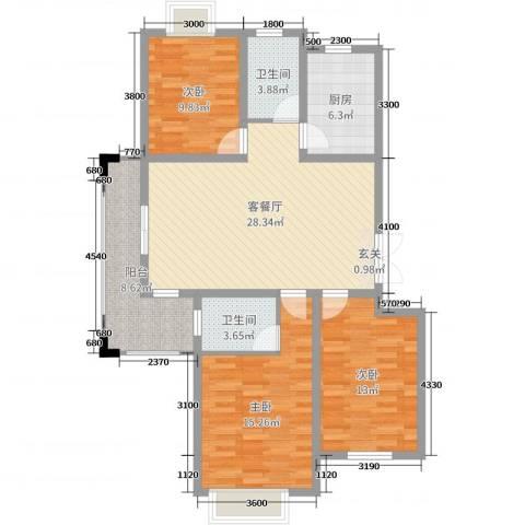 左岸王府3室2厅2卫1厨108.00㎡户型图
