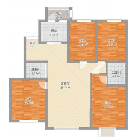 浦新教师公寓4室2厅2卫1厨135.00㎡户型图