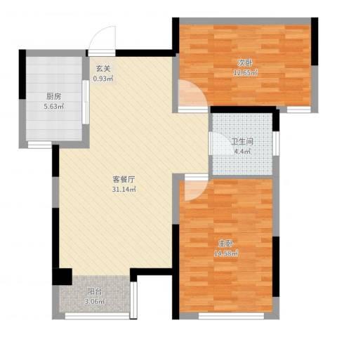 榕园嘉苑2室2厅1卫1厨86.00㎡户型图