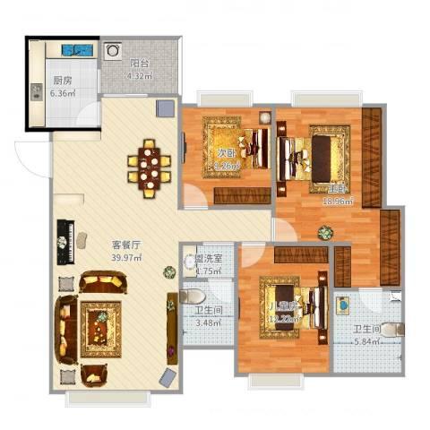 南延新苑3室4厅2卫1厨128.00㎡户型图