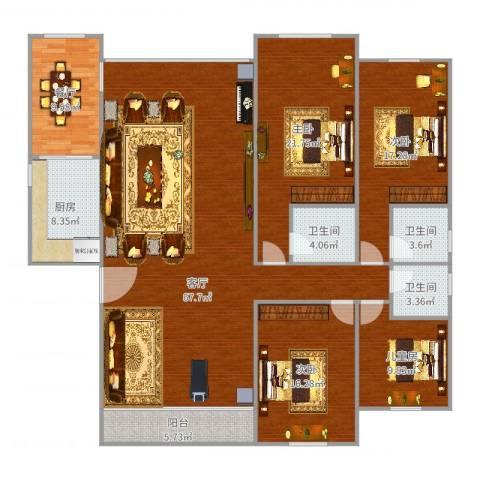 瑞丽花园4室2厅3卫1厨210.00㎡户型图