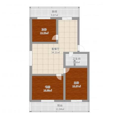 盛立小区3室2厅1卫1厨133.00㎡户型图