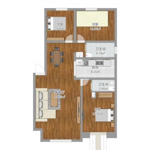 佰仕・印象3室2厅2卫1厨125.00㎡户型图