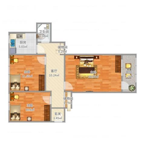 崇文门东大街3室1厅1卫1厨82.00㎡户型图