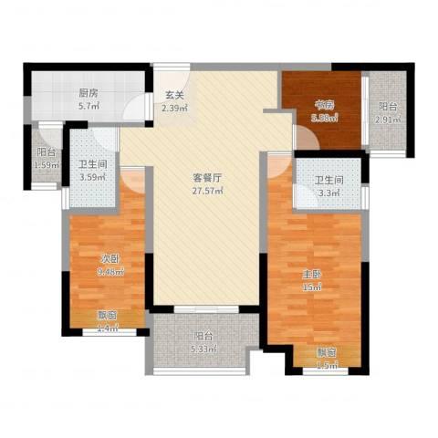 保利建业・香槟国际3室2厅2卫1厨100.00㎡户型图