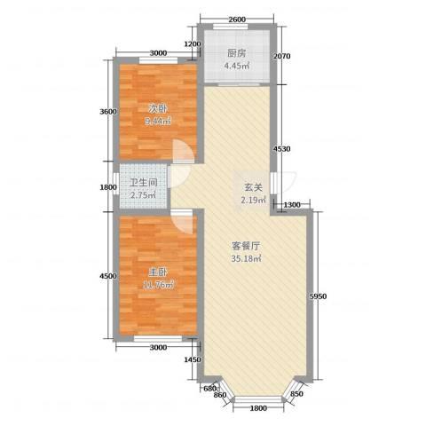 景富家园三期2室2厅1卫1厨84.00㎡户型图