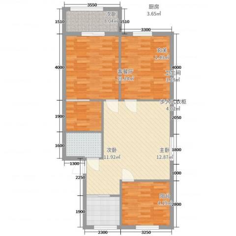 玉融花园3室2厅1卫1厨85.00㎡户型图