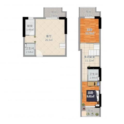 君城紫金城17-1-17062室1厅2卫1厨108.00㎡户型图
