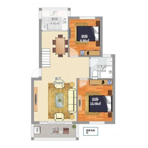 宁大花园2室1厅1卫1厨83.00㎡户型图