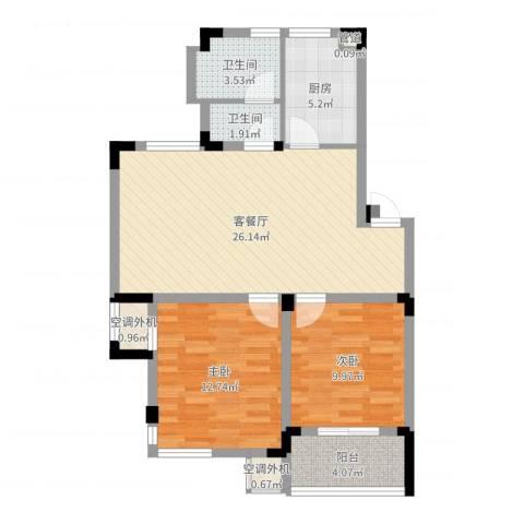 中铁四局四公司生活小区2室2厅2卫1厨82.00㎡户型图